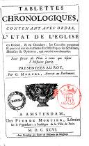 TABLETTES CHRONOLOGIQUES (Histoire sacrée)