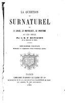 La question du surnaturel