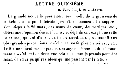 La première grossesse de Marie-Antoinette, selon les Mémoires Secrets ... Books?id=x1JPEptEMCIC&hl=fr&hl=fr&pg=PA159&img=1&zoom=3&sig=ACfU3U1O7kTZIqC6AfrI7bYezNRzpW2ENg&ci=104%2C572%2C721%2C384&edge=0